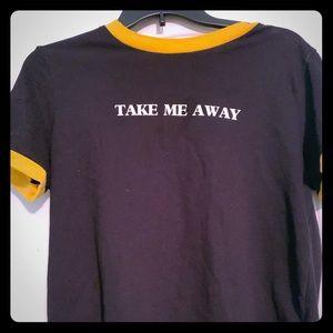 Women's take me away graphic ringer t-shirt